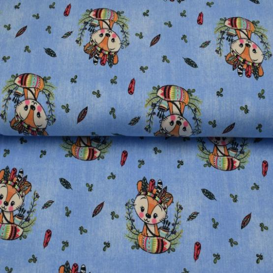 Baumwolljersey Indianer Fuchs Jeans von Textil Rammelkamp