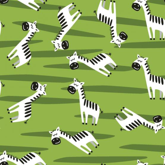 Baumwolljersey Zebras grün