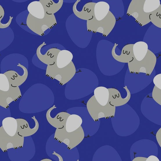 Baumwolljersey Elefanten nachtblau