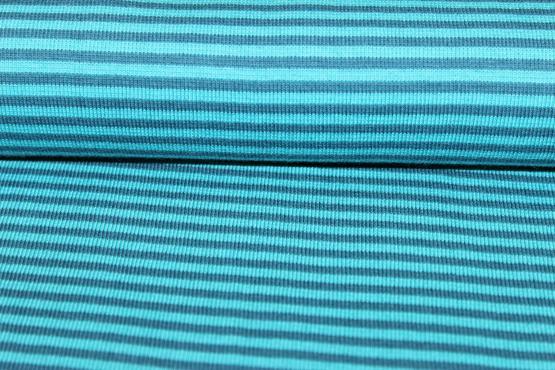 Bündchenware blau gestreift
