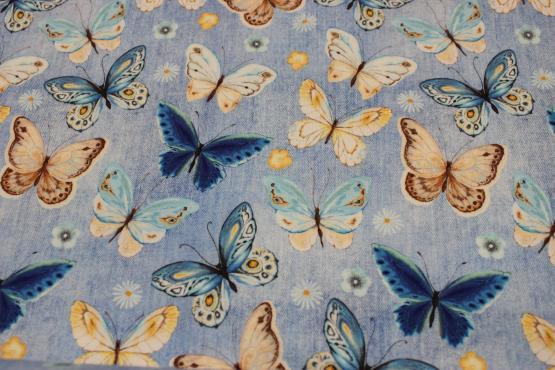 Baumwolljersey Schmetterlinge Jeansoptik