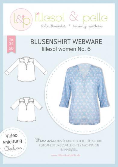 Blusenshirt Webware lillesol&pelle Schnittmuster Größe 34-50