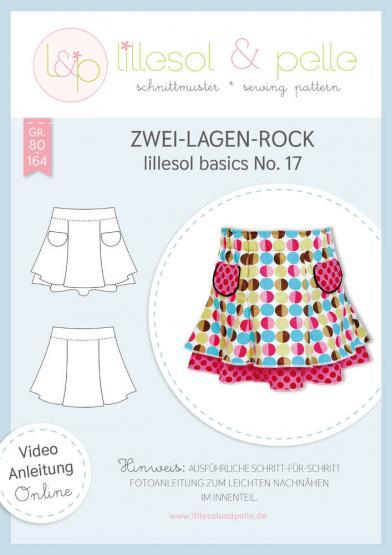 Zwei-Lagen-Rock lillesol&pelle Schnittmuster Größe 80-164