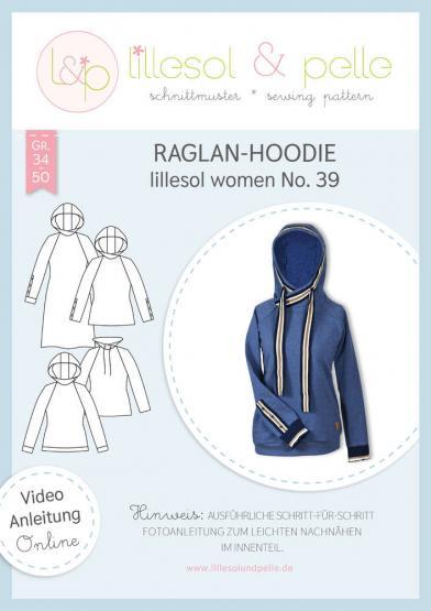 Raglan-Hoodie women lillesol&pelle Schnittmuster Größe 34-50