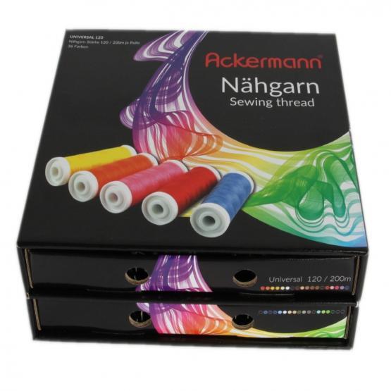 Nähgarn-Box, 36 Farben x 200m ACKERMANN UNIVERSAL 120 NÄHGARN (Allesnäher)